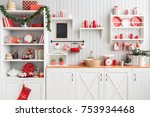 interior light grey kitchen and ... | Shutterstock . vector #753934468