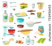 baking ingredients colored... | Shutterstock . vector #753950455