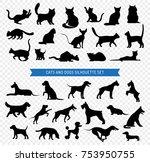 black silhouette set of... | Shutterstock . vector #753950755