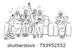 big family got together on the...   Shutterstock .eps vector #753952552