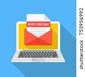 laptop with christmas card.... | Shutterstock .eps vector #753956992