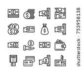 money line icons set. 48x48 px. ... | Shutterstock .eps vector #753958138