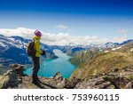 best norway hike. besseggen... | Shutterstock . vector #753960115