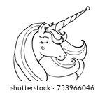 unicorn. cute magical animal.... | Shutterstock .eps vector #753966046