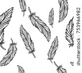 feather vector hand drawn... | Shutterstock .eps vector #753966982