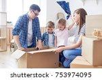 close knit family enjoying each ... | Shutterstock . vector #753974095