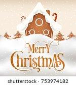merry christmas vector card | Shutterstock .eps vector #753974182
