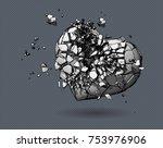 monochrome broken heart symbol...   Shutterstock .eps vector #753976906