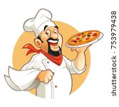 Smiling Pizza Chef Cartoon...