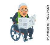old man sitting in attendant...   Shutterstock .eps vector #753989305