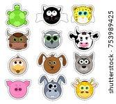 set of cute cartoon animals....   Shutterstock .eps vector #753989425