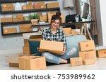 young entrepreneur  teenager...   Shutterstock . vector #753989962