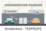 underground parking lot. cars... | Shutterstock .eps vector #753990292