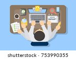 businessman multitasking at... | Shutterstock .eps vector #753990355