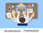 businessman multitasking at... | Shutterstock .eps vector #753990355