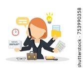businesswoman multitasking at... | Shutterstock .eps vector #753990358