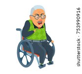 old man sitting in attendant... | Shutterstock .eps vector #753990916