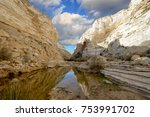 unique canyon ein avdat in the... | Shutterstock . vector #753991702