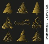 gold christmas trees on a black ... | Shutterstock .eps vector #753996436