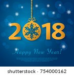 happy new year 2018 design with ... | Shutterstock .eps vector #754000162