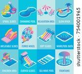 water park attractions vector... | Shutterstock .eps vector #754001965