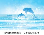 vector  blue sea  and jumping... | Shutterstock .eps vector #754004575