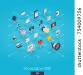 social media integrated 3d web... | Shutterstock .eps vector #754009756