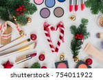 set of christmas make up...   Shutterstock . vector #754011922