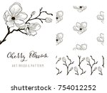 cherry blossom hand drawn... | Shutterstock .eps vector #754012252