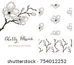 cherry blossom hand drawn... | Shutterstock .eps vector #754012252