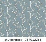 vector blue decorative seamless ... | Shutterstock .eps vector #754012255