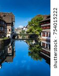 the ill river in petite france... | Shutterstock . vector #754015222