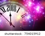 2018 new year background with... | Shutterstock .eps vector #754015912
