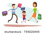 happy jumping family with... | Shutterstock .eps vector #754020445