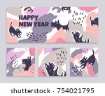 a set of banners of art cards... | Shutterstock .eps vector #754021795
