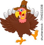 cute turkey bird cartoon | Shutterstock . vector #754022338