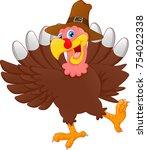 cute turkey bird cartoon | Shutterstock . vector #754022338