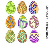 colorful easter egg collection | Shutterstock . vector #75403204