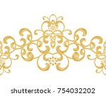 seamless pattern. golden... | Shutterstock . vector #754032202