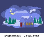 evening winter landscape.... | Shutterstock .eps vector #754035955