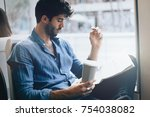young office manager male in... | Shutterstock . vector #754038082