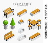 Isometric Wooden Bench...