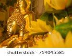 young golden buddha | Shutterstock . vector #754045585
