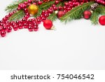 christmas seasonal border of... | Shutterstock . vector #754046542