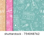 seamless pattern with hand... | Shutterstock .eps vector #754048762