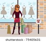 illustration modern girl loaded ... | Shutterstock .eps vector #75405631