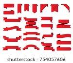 ribbon banner set.vector red... | Shutterstock .eps vector #754057606