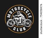 skull rider motorcycle club... | Shutterstock .eps vector #754058476
