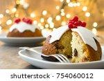christmas pudding and christmas ... | Shutterstock . vector #754060012