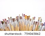 used artists paint brushes... | Shutterstock . vector #754065862